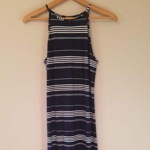 ASOS Women's Blue White Stripe Long Dress Stretchy